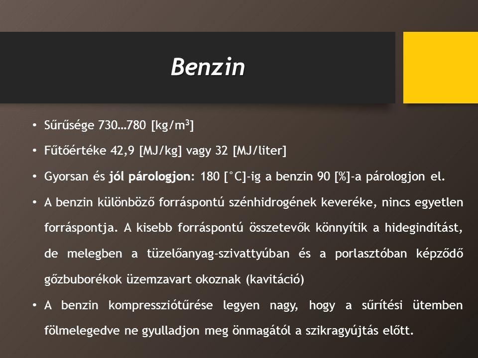 Benzin Sűrűsége 730…780 [kg/m3]